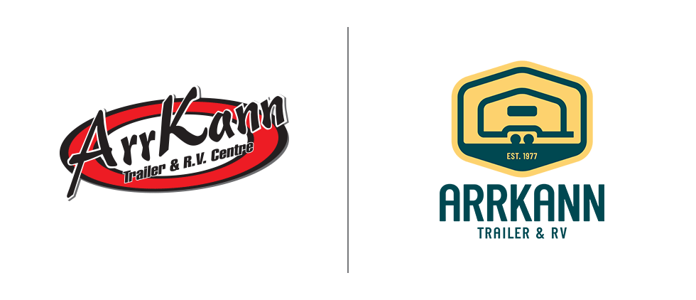 ArrKann Trailer & RV logo redesign — old and new comparison