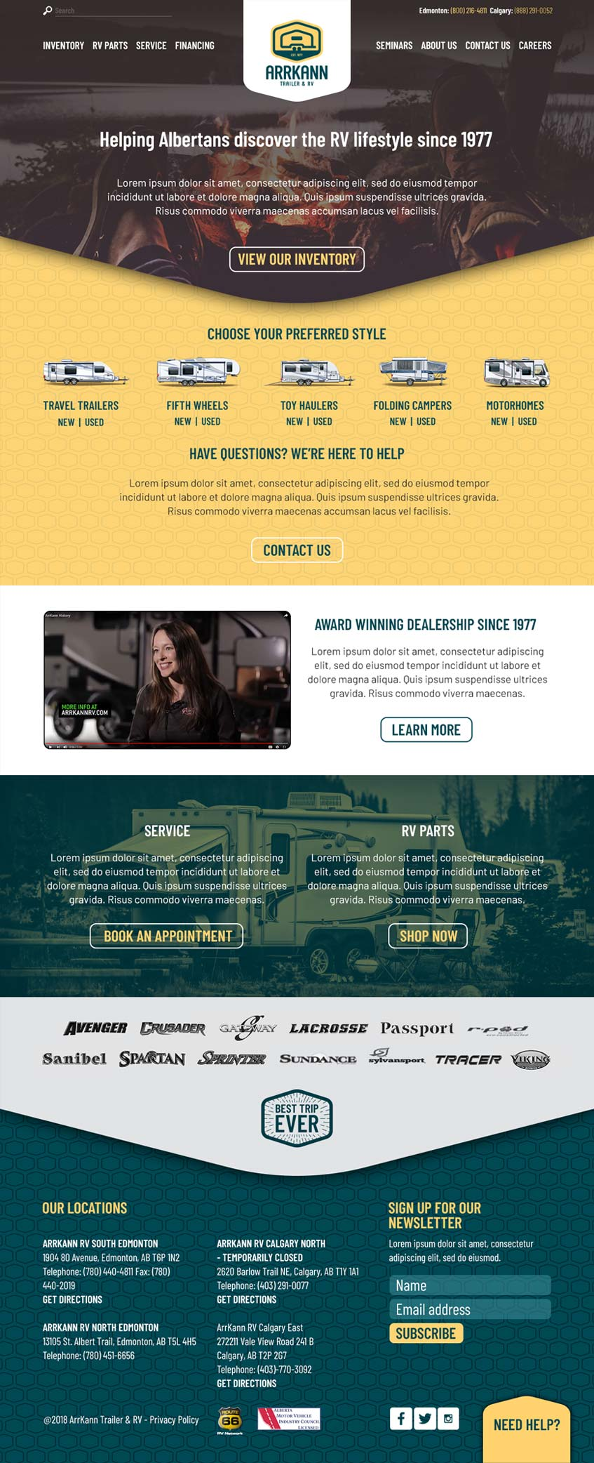 Website redesign mock-up